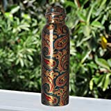 #7: JaipurCrafts Pure Copper Modern Art Printed And outside Lacquer Coated Bottle, Travelling Purpose, Yoga Ayurveda Healing, 1000 ML