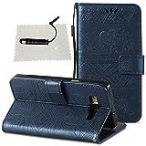 Hülle Galaxy A5 (2015) A500, TOCASOLeder Case Cover Glitter Leder Tasche Impressum Sexy Wallet Case Hülle Stand Magnet Etui Schale Card Slots - Marineblau