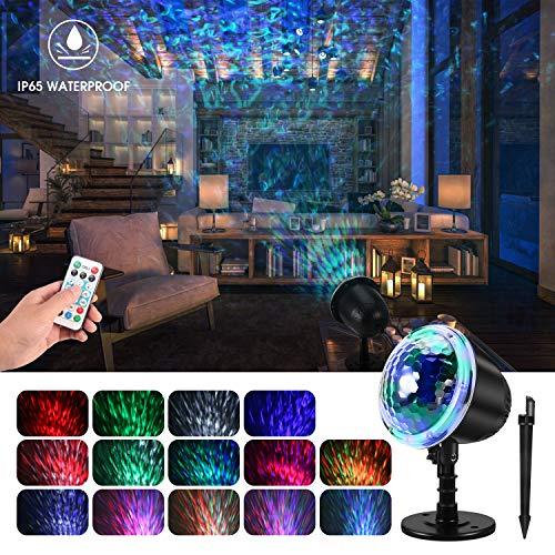 mimoday Wasserwelle Nachtlicht Projektor Lampe, LED Projektionslampe mit Fernbedienung, Stimmungsbeleuchtung Nachttischlampe für Halloween Karneval Weihnachten Innen Außen IP65 Garten Wand Beleuchtung
