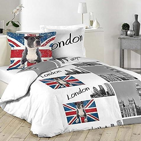 Housse De Couette Union Jack - Parure Housse de couette LONDON DOGUE 100%