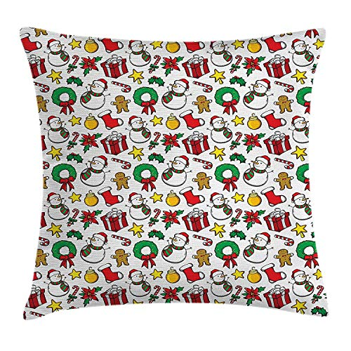 MLNHY Christmas Decorations Throw Pillow Cushion Cover by, Classical Inspirational Wreath Candy Cane Snowman Patterns Feast Decor, Decorative Square Accent Pillow Case, 18 X 18 Inches, Red White