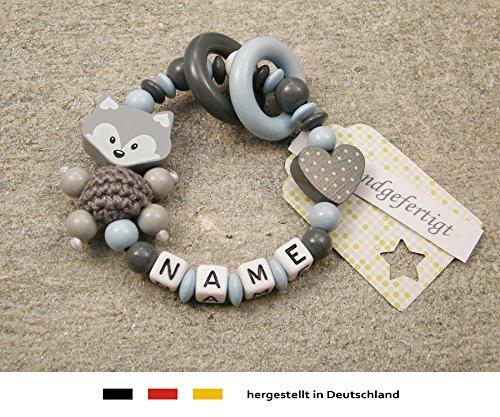Baby Greifling Beißring geschlossen mit Namen | individuelles Holz Lernspielzeug als Geschenk zur Geburt & Taufe | Jungen Motiv Fuchs und Herz in grau babyblau
