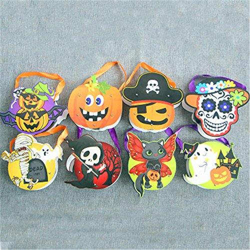 AAAHOMEEU 10Pcs Halloween Dekoration Stützen verkleiden sich Zubehör Lieferungen Kinder Hand Kürbis Tasche Geschenk Tasche Süßigkeiten Tasche (Printables Kürbis)