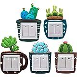 VOSAREA 5pcs Vinilos para Interruptores de la Luz en Forma de Cactus Pegatinas Decorativas de Pared para Habitacion (Patrón A