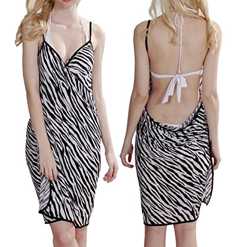 Sarong Bekleidung Pareos (Zebra Schwarz Weiss Damen Strandkleid Muster Sarong Pareo Wickelrock Bademode Minikleid Bikini Größe S/M)