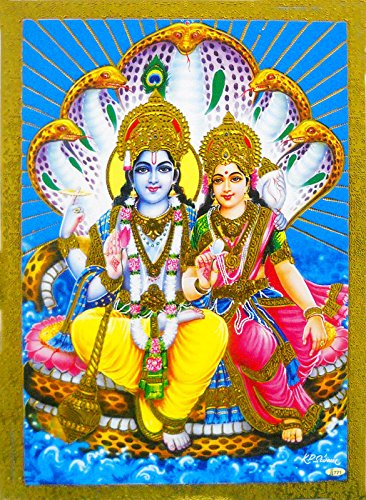 lord-vishnu-ji-with-lakshmi-poster-reprint-hindu-god-picture-with-golden-foil-unframed-size-5x7-inch