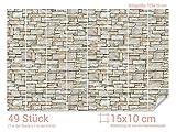 GRAZDesign 766080_15x10_70 Fliesenaufkleber Stein - Mauer - Optik | mit Fliesenbildern die Fliesen-Wände überkleben (Fliesenmaß: 15x10cm (BxH)//Bild: 105x70cm (BxH))