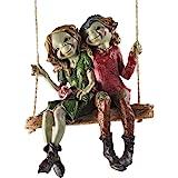 Pixie Pareja colgante columpio, escultura misterio mágico de alta calidad, decoración de jardín, figuras de duende y hadas ni