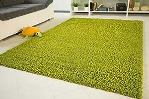 Shaggy Hochflor Teppich Funny Langflor Teppich in grün mit Öko-Tex Siegel, Größe: 65x130 cm