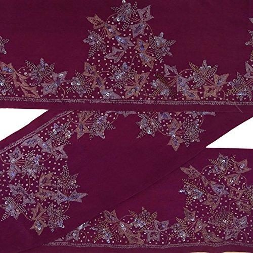 Vintage Indian Sari Border bestickt Antik Handwerk Deco Trim lila Spitze 2 Yds (Yds Spitze)