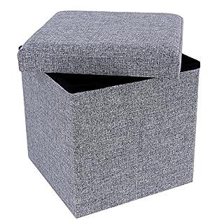 SONGMICS Faltbarer Sitzhocker Belastbar bis 300 kg leinen, Hellgrau, 38 x 38 x 38 cm LSF27H