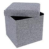 SONGMICS Faltbarer Sitzhocker Fußbank Aufbewahrungsbox belastbar bis 300 kg, leinen, Lichtgrau 38 x 38 x 38 cm LSF27H