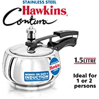 Hawkins Stainless Steel Pressure Cooker, 1.5 litres, Silver (SSC15)