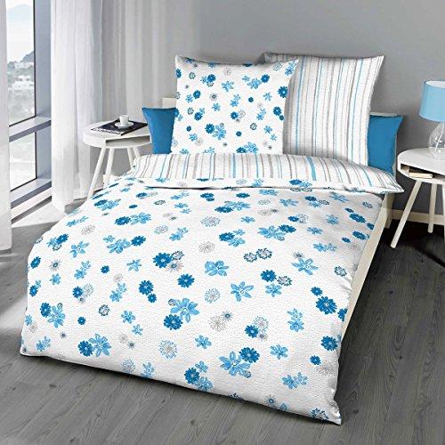 Kaeppel Wendebettwäsche Mia Seersucker blau-hellgrau-weiß Größe 155x220 cm (80x80 cm)