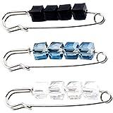 BESTOYARD 3 unids Crystal Safety Pin Broche Cardigan Sombrero Bufanda Accesorios de Ropa Broches Prendedores Joyería para Muj