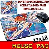 MyCust Mouse Pad Fata Bloom Winx Club Cartone Tappetino Personalizzato con Nome,Foto ECC