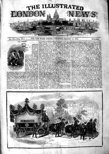 M.O'CONNELL HORSES HEARSE IRLANDE DE 1847 ENTERREMENTS par original old antique victorian print