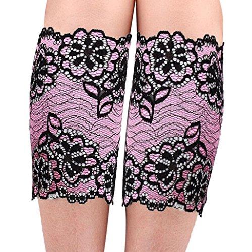 overknee strümpfe Kolylong Damen Stretch-Spitze Fußschellen (Hot Pink) (Overknees Pink Hot)