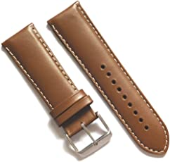 24MM Padded Leather Strap for Watch (Beige Plain/White Stitch)