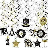 OULII 2018 Nouvel An Party Décorations Partie Suspendu Swirl Danglers Feuille Remous Fournitures de Bannière Banner, Pack de 30