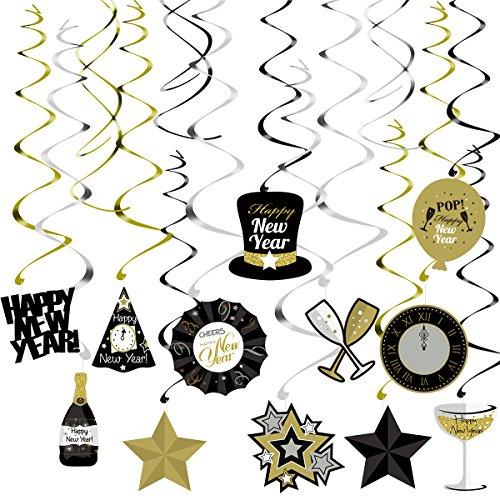 gen wirbelt Dekorationen für Silvester Party Decke Hangings Girlanden Papier Frohes Jahr Hut Ballon Weinflasche Weinglas 30 STÜCKE ()