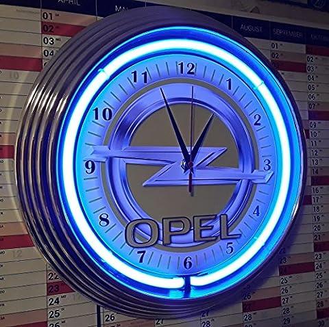 NEON CLOCK OLD OPEL SIGN #2 WALLCLOCK BLUE NEON,NEON