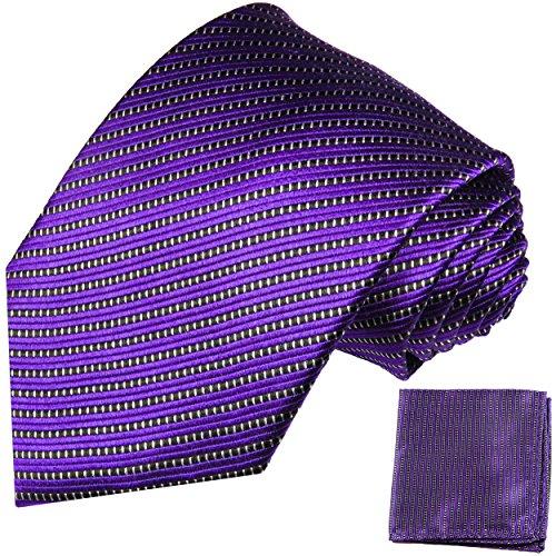 Cravate homme violet rayée ensemble de cravate 2 Pièces ( 100% Soie Cravate + Mouchoir )