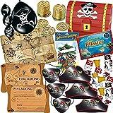 Unbekannt 165-tlg. * Piraten und SCHATZSUCHE * Set für Kindergeburtstag // mit Schatzkisten Schatzkarte Goldmünzen Deko Luftballons Einladungen Mitgebsel Tüten u.v.m. // Geocaching Mottoparty