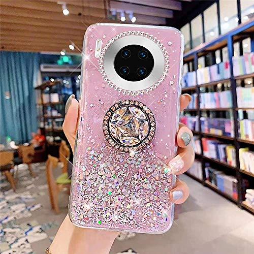 Uposao Kompatibel mit Huawei Mate 30 Pro Hülle Glitzer Mädchen Frauen Diamant Glänzend Strass Bling Schutzhülle Silikon Clear Durchsichtige Hülle Weich TPU Tasche mit Ring Ständer,Rosa