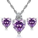 WuWxiuzhzhuo - Set di gioielli con ciondolo a forma di cuore, con zirconia cubica, colore: viola