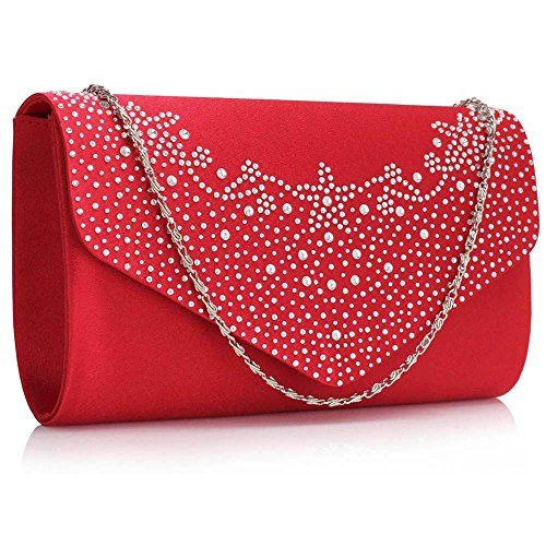 Damen Geldbörsen Designer Satin Geldbörse Klappe Zu Ende Kreuz Körper Tasche Magnetisch Schließung Mit Lange Kette Rot