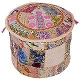 Stylo Kultur Baumwolle Patchwork gestickte osmanischen Hocker Pouf Abdeckung Beige Floral Ottoman Hocker
