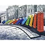 London Color Domino cabinas de teléfonos de Pintura al óleo pintada a mano sobre lienzo - Excelente calidad y la Artesanía