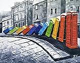 Ölgemälde auf Leinwand - Old London Farbe Domino-Telefonzellen - Hervorragende Qualität und Handwerkskunst, handgefertigte Wandkunst