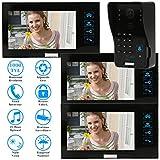 KKmoon Vidéo Door Phone Intercom Sonnette LCD écran avec 1pcs 1000TVL CCTV Caméra Extérieure de Surveillance + 3pcs 7inch Moniteurs Intérieurs Sécurité TP02SR-13
