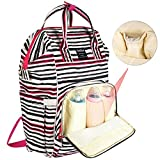 Diaper Bag Backpack, FeelGlad Multi-Function Waterproof Large Capacity Nappy Bag, Pocket Stroller Hook, Changing Pad for Mum Dad Travel (Stripe)