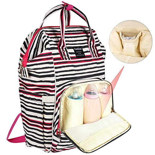 Coupon Matrix - Diaper Bag Backpack, FeelGlad Multi-Function Waterproof Large Capacity Nappy Bag, Pocket Stroller Hook, Changing Pad for Mum Dad Travel (Stripe)