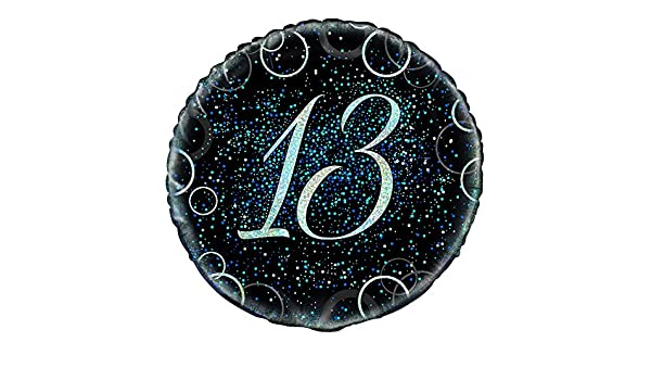 Unique Party 55804-18 Glitz Blue Foil 13th Birthday Balloon