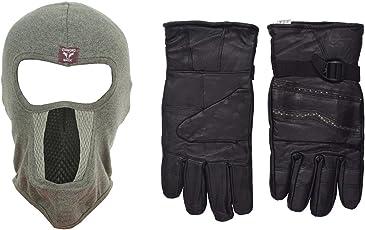 H-Store Balaclavas Mask Unisex Lycra Face Mask Blue Anti Pollution Dust Sun Protecion Face Cover Mask With Black Winter Gloves/ Bike Gloves/ Biker Gloves/ Motorcycle/ Bike Racing/ Riding/ Gym / Fitness / Full Fingers Gloves Best Grip For Men Women