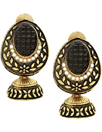 Jhumka | Jhumki | Bollywood Designed Ethnic Brass Golden Earring | Oval Shaped Black And Golden Colour Earrings...