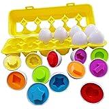Sipobuy Juguetes Geométricos Educativos De Siposhop, Juego De 12 Huevos De Reconocimiento De Clasificación De Forma De Color
