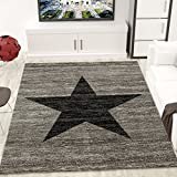 Jugendzimmer Teppich Design, Sternmuster, Meliert in Schwarz, Grau - ÖKO TEX Zertifiziert, Maße:80 cm x 150 cm thumbnail