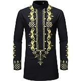 Jmsc Men's Shirt Luxury African Print Long Sleeve Dashiki Shirt Top Autumn Winter Long Shirts Fashionable Tops Unique Pattern