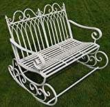 Victorian Style Metal Garden Rocking Bench In A Shabby Chic Finish