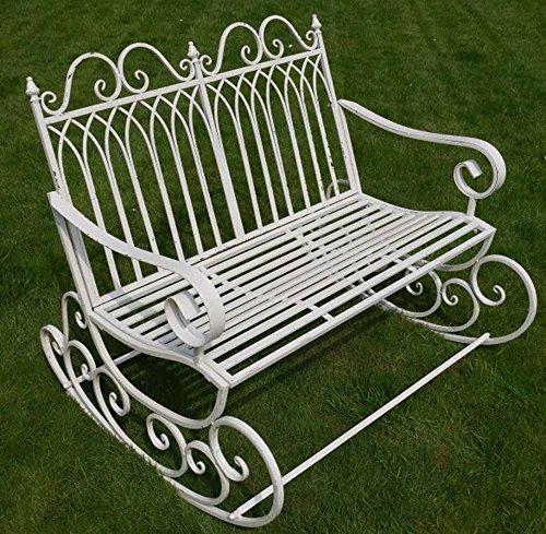 Viktorianischer Stil Metall Garten Schaukelstuhl Bank in einem Shabby Chic Finish