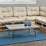 [en.casa] Couch-Tisch Design MDF - Beton-Optik - 100x60x35cm - Beistelltisch Wohnzimmer mit Hairpinleg - Metall Gestell
