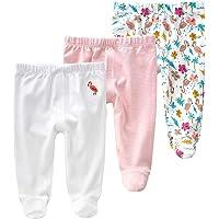 Lot de 3 Leggings Bébé Fille Pantalons avec Pieds Culottes en Coton Collant, 0-3 Mois