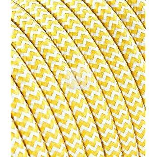 Textilkabel Stoffkabel SuperFlex gelb weiß zickzack zum bau dekorativer Textilkabellampen, Pendelleuchten, Hängelampen Stoffkabel (5 Meter 3 Adrig)