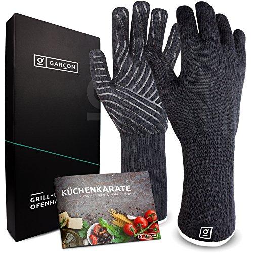 Grillhandschuhe hitzebeständig bis zu 500 Grad von GARCON I 36 cm extra lang & feuerfest I Premium Ofenhandschuhe