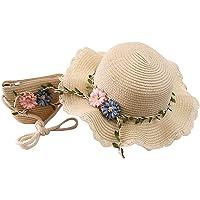 YunYoud Strohhut und Mini Tasche Set Mädchen Sommer Sonnenhut mit Blume Dekoration Sommerhut und Umhängetasche Set…